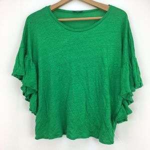 Zara Basic Women's Kelly Green Ruffle Sleeve Top L